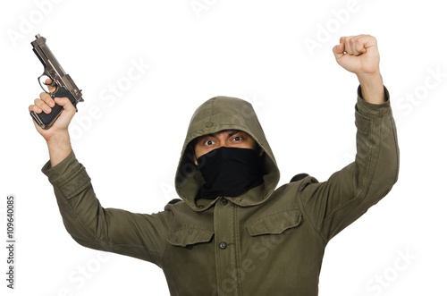 Poster Masked man in criminal concept on white