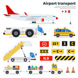 Fototapety Different airport transport on white background