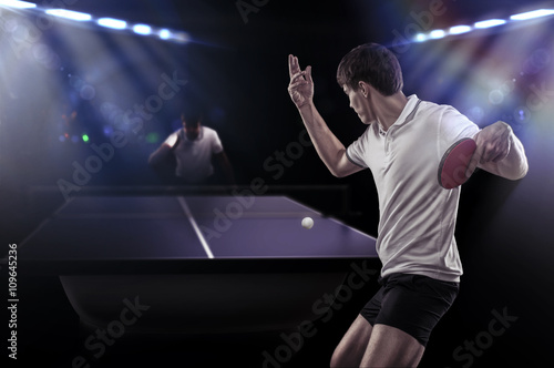 Table tennis player serving Poster