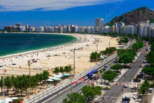 Copacabana beach and Avenida Atlantica in Rio de Janeiro, Brazil Canvas Print