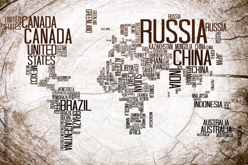 Obraz na płótnie World Map Countries name Typography on Lumber Wooden Background