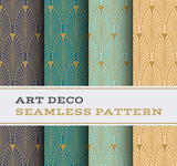 Art Deco seamless pattern with 4 colours background 01