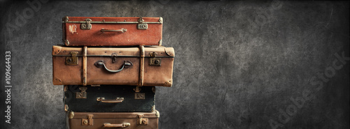 Vintage Pile Ancient Suitcases Design Concept Travel - 109664433