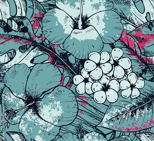 Fototapeta Seamless pattern with colorful hand drawn tropical plants
