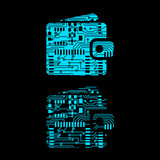 wallet in circuit board style Vector Illustration