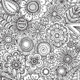 Vector seamless floral pattern with hand drawn fancy flowers