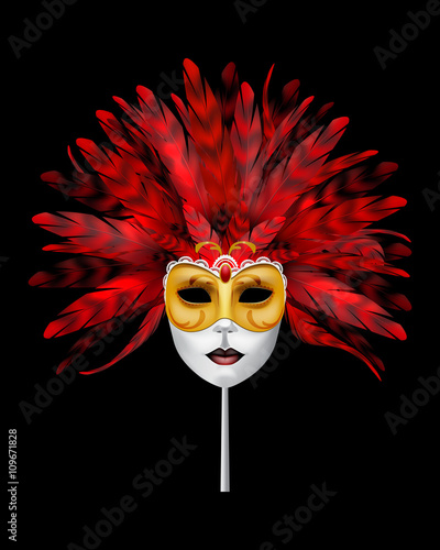 Obraz na Szkle Carnival or masquerade mask with red feathers.
