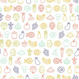 seamless pattern with fruits and vegetables icons - 109681207