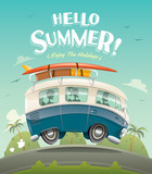 Hello summer! Camper van, summer vacation.