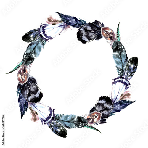 Watercolor wreath in boho style. - 109697096