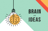 Fototapety Brain and ideas concept in modern line art design