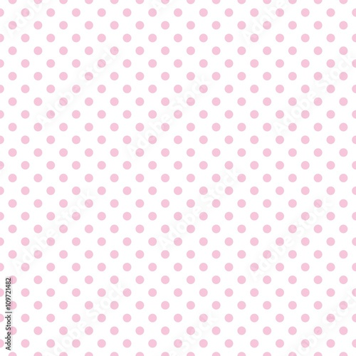 Fototapeta Tile vector pattern with pink polka dots on white background