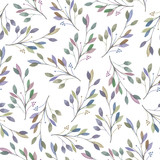 Seamless pattern with watercolor leaves and branches on a white background, hand drawn in a pastel, wedding decoration