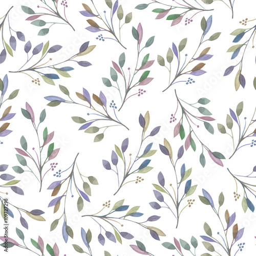 Seamless pattern with watercolor leaves and branches on a white background, hand drawn in a pastel, wedding decoration - 109727298