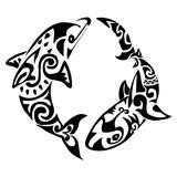 dolphin tattoo Polynesia Maori vector - 109731096
