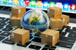 Internet shopping, online purchases, e-commerce, international package delivery concept, global transportation business, stack of cardboard boxes and Earth globe on computer keyboard