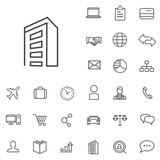 company outline, thin, flat, digital icon set - 109754834