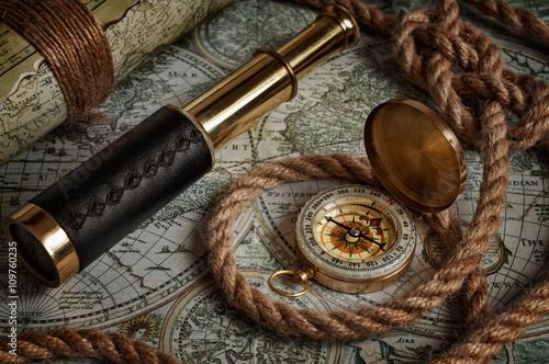 Keuken foto achterwand Schip Nautical background with a navigation tools