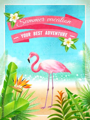 Fotobehang Lichtblauw Flamingo Bird Exotic Summer Vacation Poster