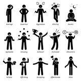 Neutral Personalities Character Traits. Stick Figures Man Icons. Starting with the Alphabet A.