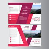 Purple pink elegance business trifold business Leaflet Brochure Flyer template vector minimal flat design set