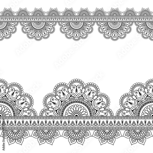 Seamless Indian Mehndi Pattern with floral border elements for card and tattoo on white background.