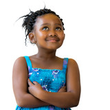 Cute african girl with braids looking up.