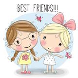 Fototapety Two Cute cartoon girls