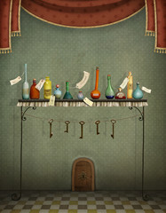 Fantasy illustration with colorfull bottles on table and keys  to small door