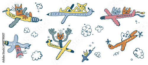 flying cats, airplanes