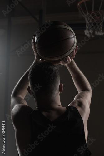 Fotobehang Basketbal Portrait front the back of basketball player