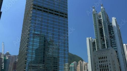 Poster Chicago Central business district of Hong Kong. Tilting shot. Color graded. Visit my portfolio for Cinelike D flat picture profile version.