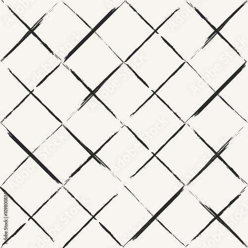 Fototapeta Modern hand drawn grungy diagonal tiles background - monochrome