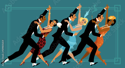 Naklejka Group of people dressed in retro fashion dancing, EPS 8 vector illustration