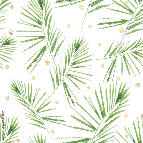Fototapeta Palm leaves pattern. Seamless, hand painted, watercolor pattern. Vector background.