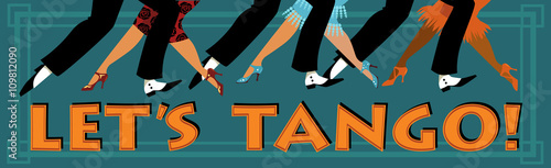 Fototapeta Banner Let's tango with feet of people dressed in vintage fashion dancing, EPS 8 vector illustration, no transparencies