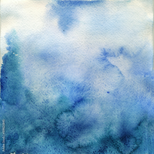 delicate blue watercolor ombre - 109820845