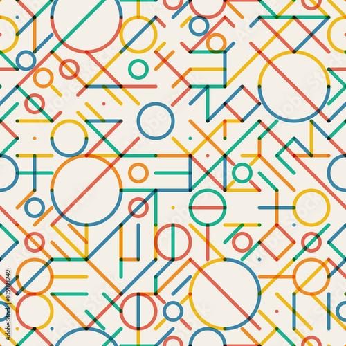 Fototapeta Vector Seamless Multicolor Geometric Lines Irregular Pattern