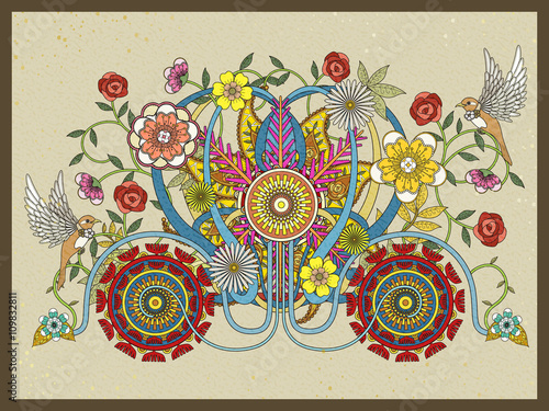 Fototapeta floral carriage adult coloring page