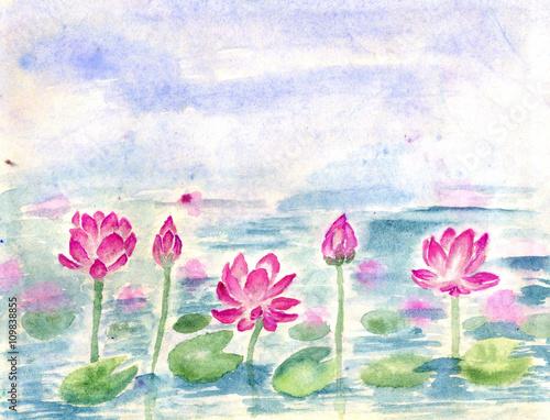 lotosowy-staw-akwarela