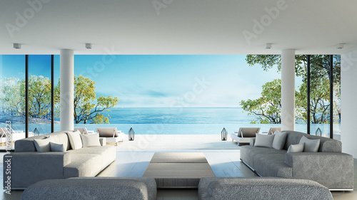 Beach living on Sea view / 3d rendering - 109852223