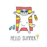 Hello summer! Doodle vector illustration of funny white cat sunbathing on a red and yellow striped beach towel