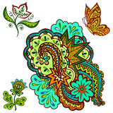 Set of Vintage Colorful Calligraphic Patterns, Symbolic Flowers, Butterfly and Abstract Ornament Isolated On White Background. Vector