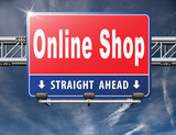 Online shopping internet web shop webshop, road sign billboard..
