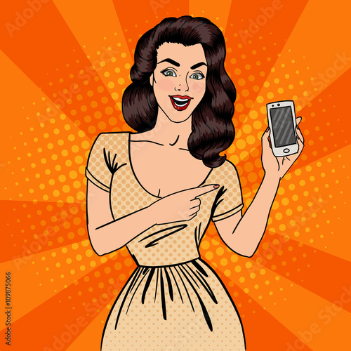 obraz lub plakat Girl with Smartphone. Beautiful Woman Showing New Smartphone. Pop Art