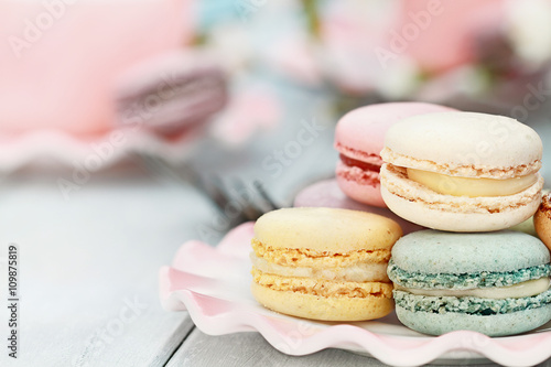 Foto op Canvas Macarons Sweet Pastel Colored Macarons