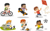 Cute happy cartoon boys playing. Sports and toys.