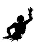 Half zombie men silhouette. Illustration half part of the rotten zombie