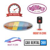 Vector car rentals label and icon set