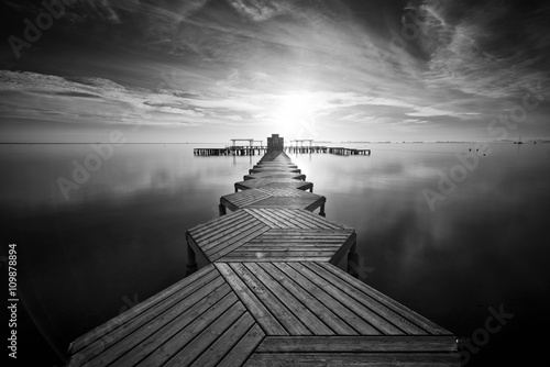 Zig Zag dock at sunrise in Santiago de La Ribera, Mar Menor, Murcia Plakát